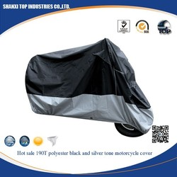 190T polyester black and silver motorcycle cover