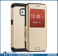 Leather Case for Samsung Galaxy S6 Edge Window View Mobile Phone Accessories