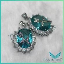 2015 NEW product The elliptical shape, aquamarine, parquet, diamond, zircon pendant