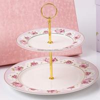 China factory made elegant design ceramic porcelain birthday cake plate