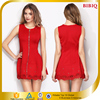 New Women Fashion Dress Long Zip Front Red Retro Casual Party Dress
