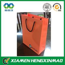 Orange color printed kraft paper shopping bag cotton rope handle hot sale orange paper bag smart shopping paper bag
