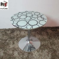 Glass Round Coffee Table Center Table Chrome