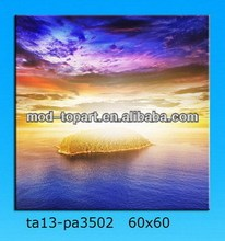 Blue sky and island canvas painting wall art home decoration