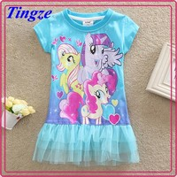New model girls casual my little pony patterns lace dress HZMM112