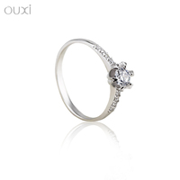 OUXI Korean style cheap wholesale zircon diamond 925 silver ring Y70040