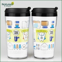10oz 280ml Double Layer Starbucks Plastic Cups for Promotion