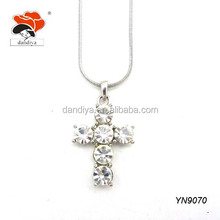 blessing holy low price crystal meaningful pendant necklace in cross shape