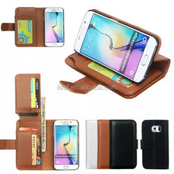 Hot Sell Business Wallet Stand Design PU Leather Case Cover For Samsung Galaxy S6 Edge Plus With 6 Card Holders