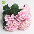 Whlesale seda artificial hydrangea flores, rosa hortensia flores bouquet