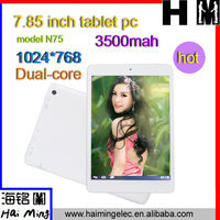 hot selling 1024*768 dual core high quality 7.85inch white color tablet pc N75