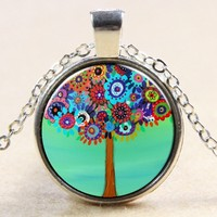 1 Dollar Item The Tree Of Life A Tree Flowers Vintage Necklace Time Gems Pendants