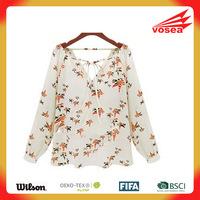 Vosea New Autumn Women Long Sleeve Deep V-neck Maple Leaf printing Chiffon Blusas