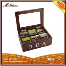 Custom Design Silver Stamping 6 Compartments Wooden Tea Bag Box with Lid