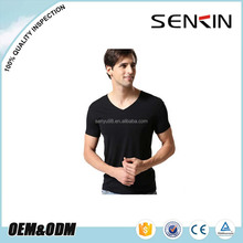 Custom Printed Logo Men's Blank V neck T shirt OEM Breathable Spandex Polyester T shirt for Promotional