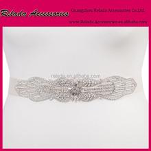 Factory wholesale satin sash belt with ribbon belt Vintage Rhinestone Crystal Wedding Bridal Sash Belt by handmade