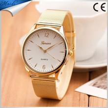 2015 Fashion watch Women's Geneva Gold Tone Mesh Band Round Dial Analog Quartz Wrist Watch Popular Product GW015