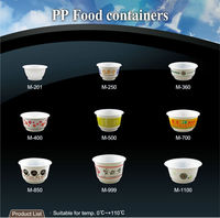 T-PP4-T noodle soup white microwave thick salad custom print high quality disposable hot food container plastic bowl with lid