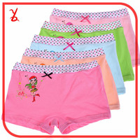 IK20 Wholesale girls cotton Lycra boxer underwear student boxer printing underwear for children