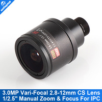 3.0Megpixel CCTV Camera Lens 2.8-12mm Varifocal IR HD Security IP Camera Lens Manual Zoom & Focus M12 Mount F1.4