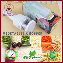 White vegetable chpper Plastic manual onion food chopper with stainless blade