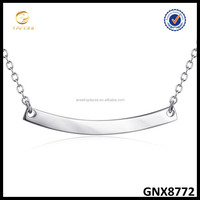 925 Sterling Silver Bar Plain Silver Necklace,Mininature Light Weight Symbol Necklace
