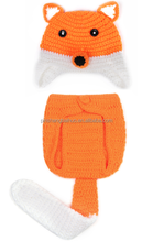 cute fox Design baby hat set with 2 pieces