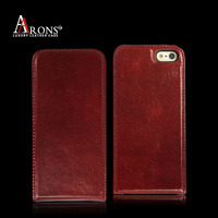 Top grain leather cell phone flip case for iphone 5s