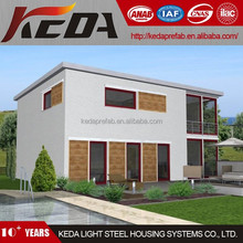 Flat roof 2 storey house prefabricated fiberglass houses and villas