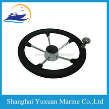 Black S.S Steering Wheel-W/PU Foam & Knob 5-Spoke For Marine 11 Inch