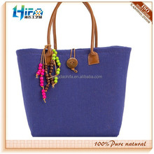 2015 newest navy blue color tassels jute basket tote bag also used for shopping bag