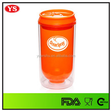 12 oz or 16 oz transparent plastic soda can to