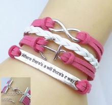 Handmade Braided PU Leather Bracelet Tree Branch Bracelet Infinity Bracelet Lucky Bird Jewelry