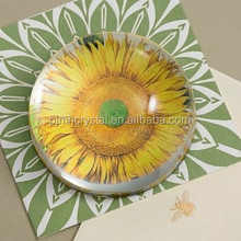 flower picture crystal paperweight for wedding favors MH-BQ006