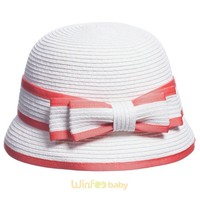 fashion children kids baby girl Cloche Bucket Bell Summer Straw Hat with bow