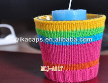 5 color stripe hangknitted Candle cup Cozy knitted Glass cozy