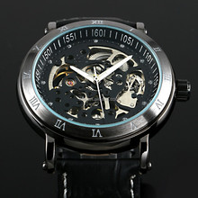 2015 Top genuine leather strap stainelss steel automatic mechanical movement luxury skeleton watch men accept Paypal WM416