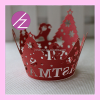 paper craft Christmas tree decoration laser cut pearl paper cupcake wrapper DG-25