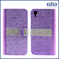 GGIT Leather Flip Cover Case For HTC Desire 626 With Diamond