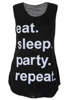 Daily Slogan Casual Sleeveless Top for Women