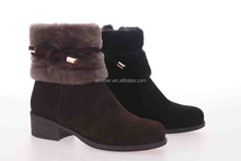 2015 suede cow leather warm fur inside ankle height color khaki brown pink and black girl snow boot