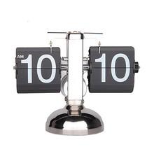 Retro Modern Metal Scale Digital Auto Flip Single Stand Desk Table Clock