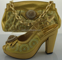 2015 new design Italian summer ladies high heel sandal and bag to match heel 10cm SA50502-1 GOLD