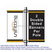 Double side spring loaded light pole advertising banner bracket