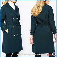 2015 New style women fashion double breasted tie back long coat