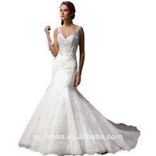 Vestido largo de encaje con cuello v profundo cola y apliques 2015 para boda