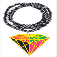 Wholesale in bulk factory directly sale custom long beads chain hip hop style good wood acrylic pendant necklace