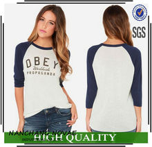 Atacado Plus Size roupas femininas letra impressa T camisa mulheres Tops Casual Raglan 3/4 camiseta de manga Suppplier China