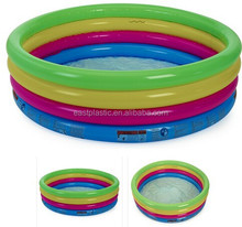 Inflatable Rainbow 3-Ring Swimming Kiddie Pool