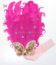 rose red lady feather headband with sequins bow ,childrens feather head band with rinestone NO. FJXPS2011